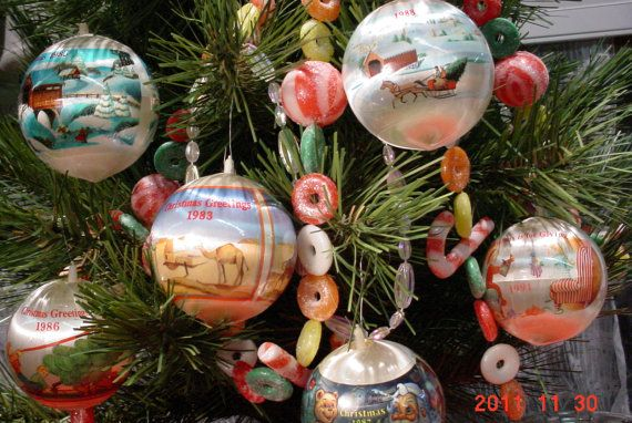 Vintage Satin Christmas Tree Ornaments 1980s Holiday
