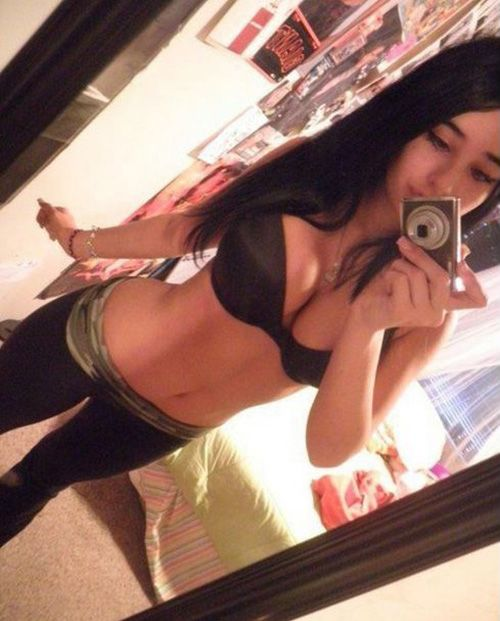 Hot Busty Girl In Yoga Pants Mirror Pic