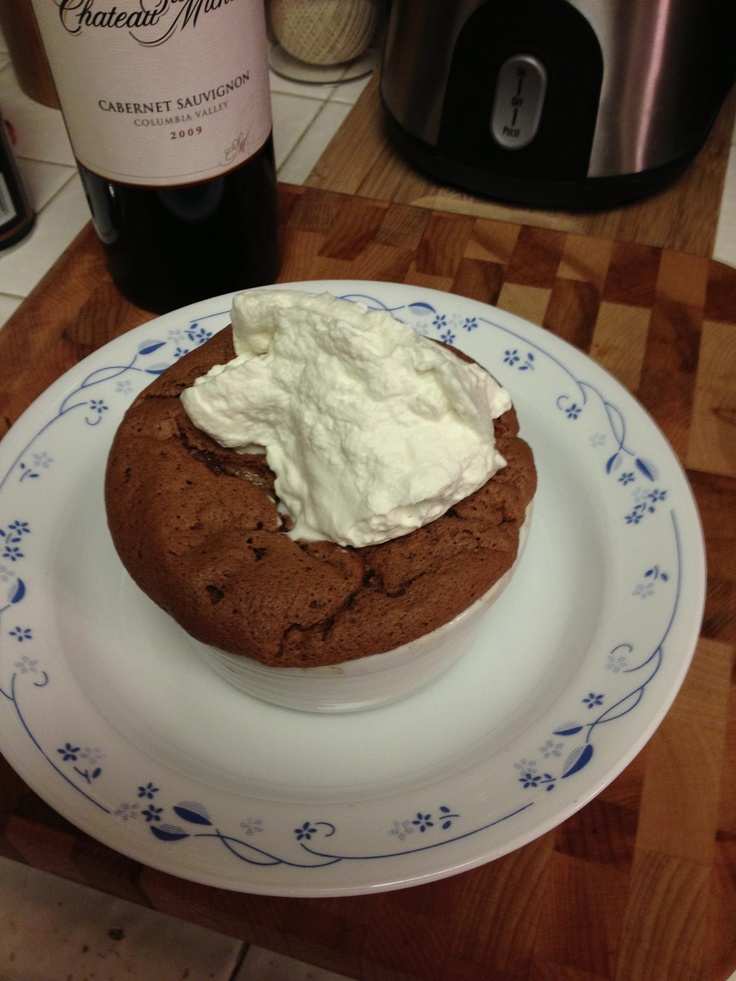 Chocolate Soufflé w/ Orange Infused Whip Cream