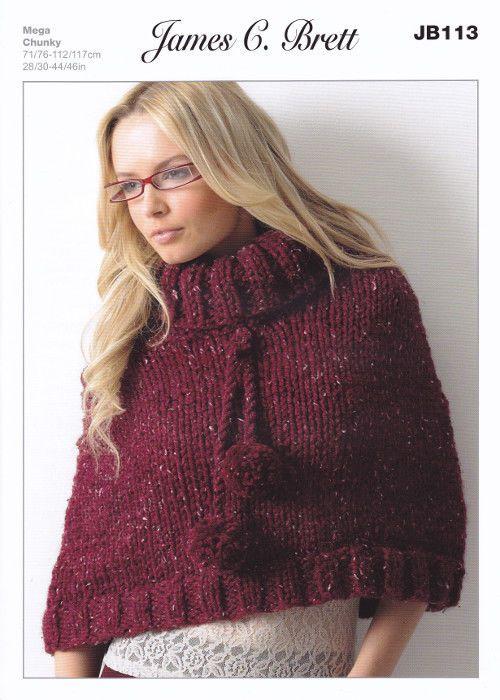Mega Chunky Knitting Pattern Ladies Roll Neck Poncho ...