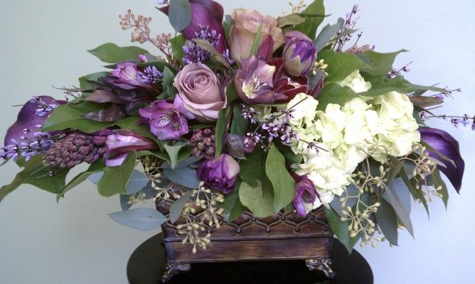Le jardin purple floral arrangement beautiful flowers for Arrangement jardin