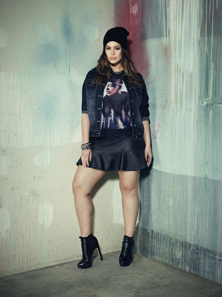 Addition Elle plus size jean jacket with screen print t-shirt and faux leather skirt.