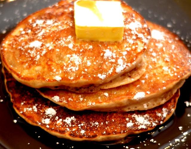 Pancakes - mashed bananas added to prepared pancake mix. So simple ...