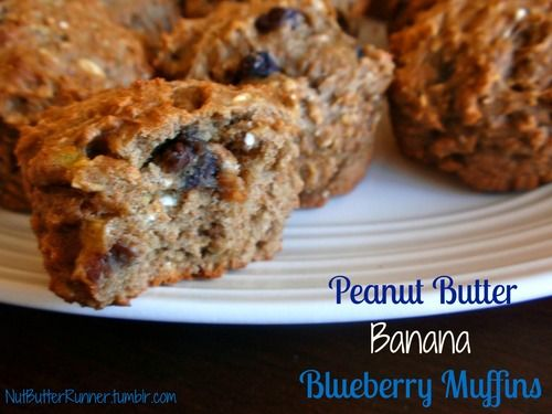 Peanut Butter Banana Blueberry Muffins made with @Chobani
