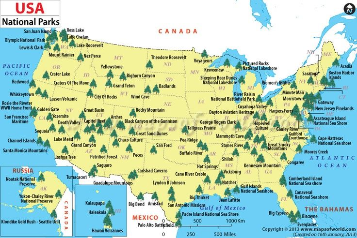 us national parks map  World Map