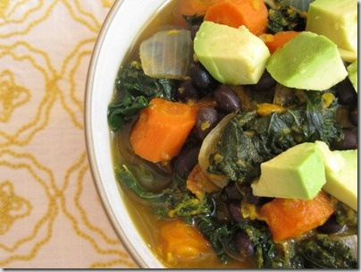 Kale and roasted root veggie soup. Bring on the dreary weather!