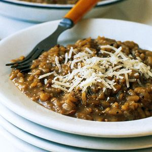 Dried-Porcini-Mushroom Risotto with Goat Cheese