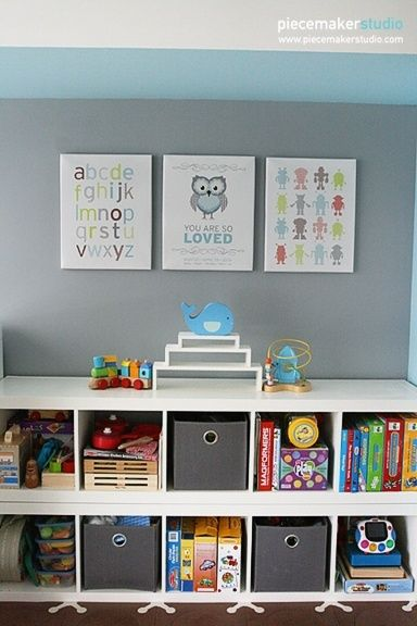 love this playroom storage