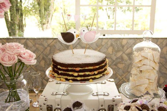 Topo de bolo casal de passarinhos #nakedcake