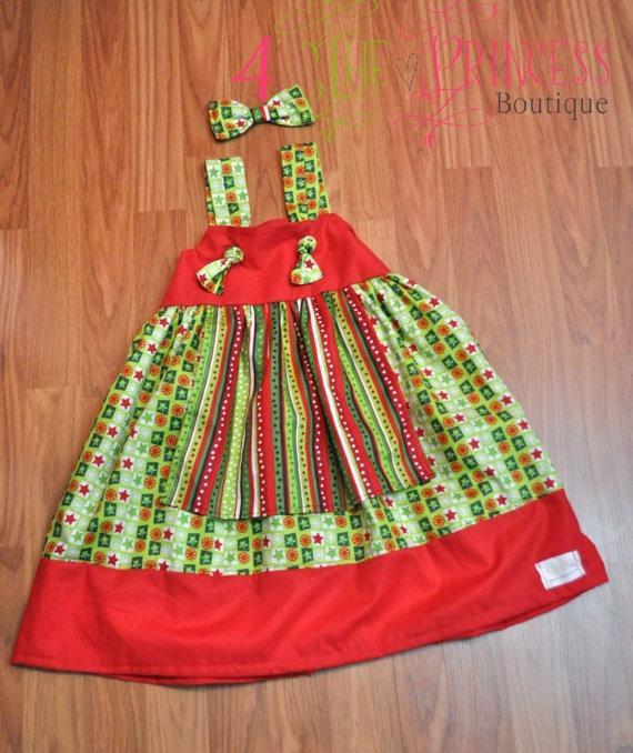 Christmas apron knot dress size 9 months6 by 4theprincessboutique 45