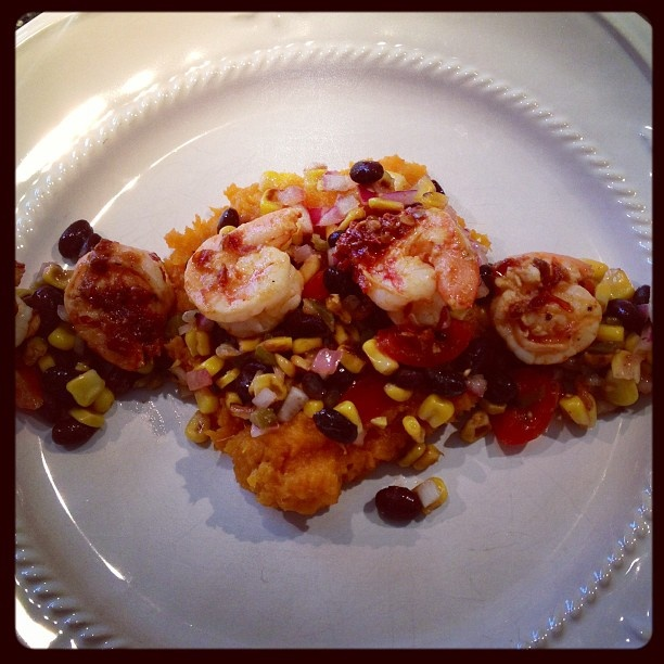 Mashed sweet potatoes with a roasted corn salsa and chipotle shrimp. # ...