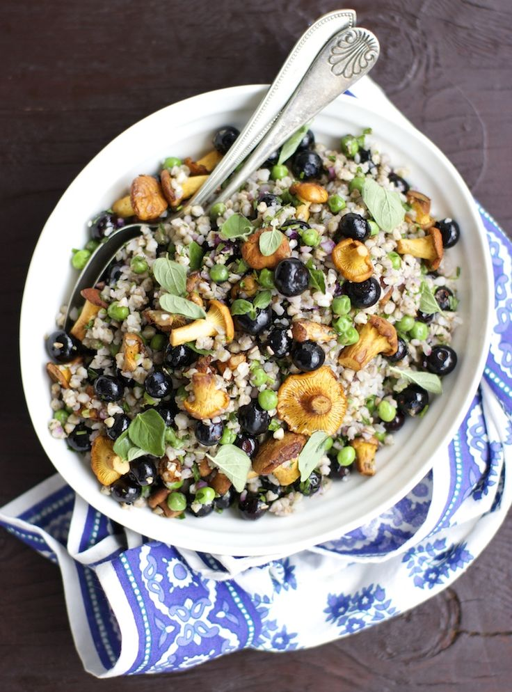 Buckwheat Salad with Chanterelle & Blueberries