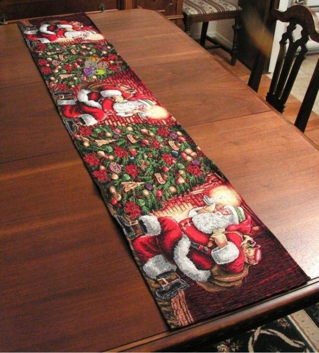 Santa, Christmas, Holiday Table Runner  Christmas  Pinterest