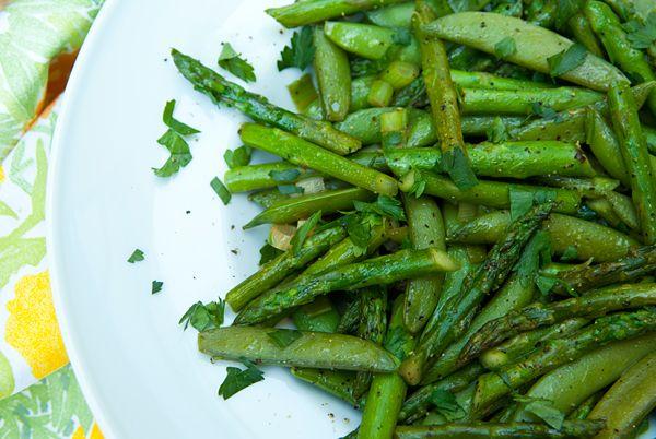 Sugar Snap Pea And Asparagus Saute Recipe — Dishmaps