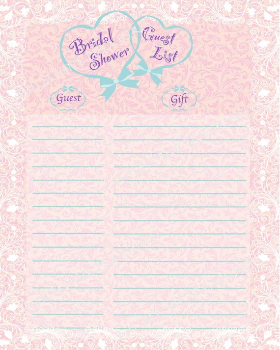 Wedding Gift List Printable : Bridal Shower Guest & Gift List - English Tea Damask - Pink Chiffon ...