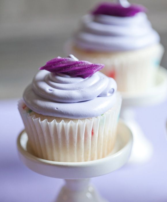 Lavender Colored Cupcakes with Licorice.