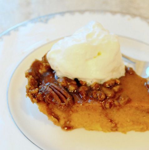 Pumpkin pecan caramel pie with whipped cream ~ I think I will use the ...