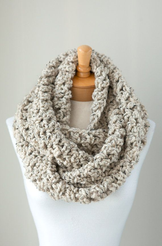 Crochet Scarf : ... crocheted chunky eternity scarf, circle scarf, crochet scarf warm and