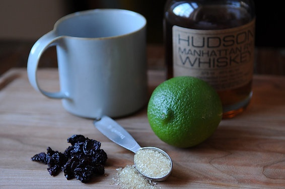 hot toddy with dried cherries and lime // via food52
