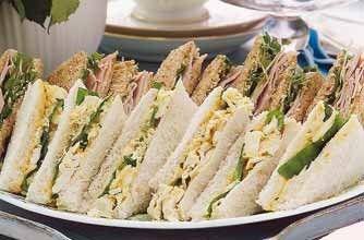 Coronation-style chicken sandwiches - 10 party sandwiches