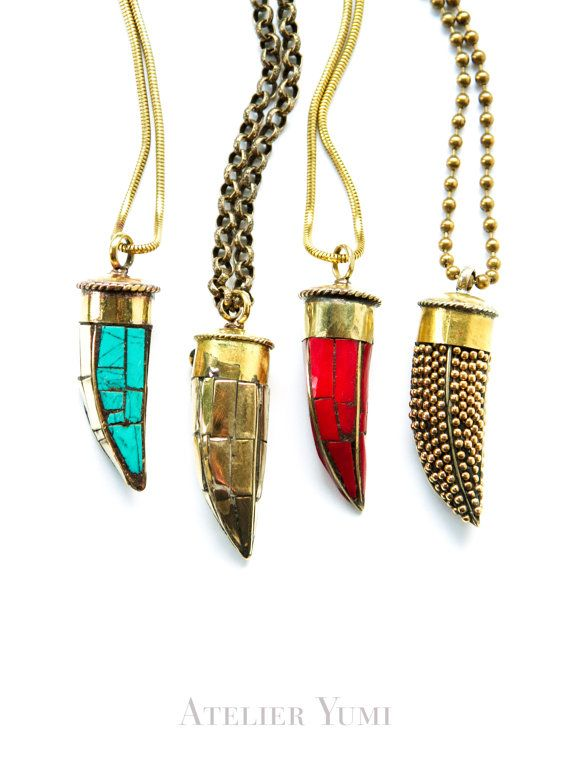 Bohemian Horn Necklace, Brass tusk pendant necklace