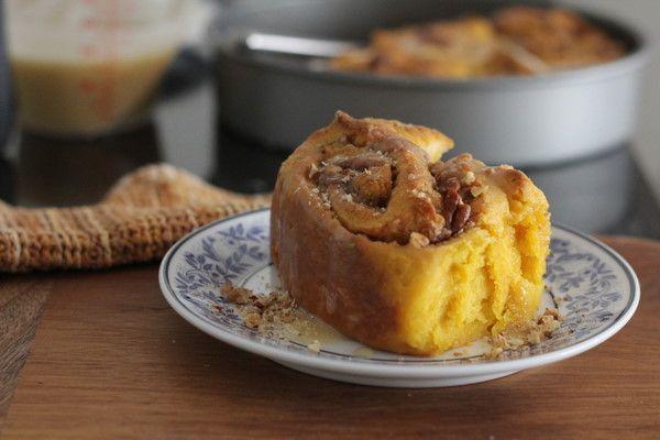 No-Knead Pumpkin Rolls with Brown Sugar Glaze - Inquiring Chef