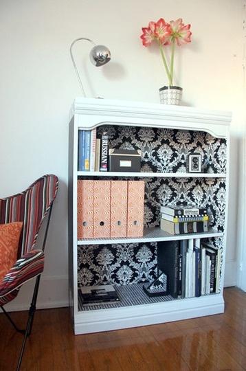 Lastest Wallpapered Bookcase Bhg