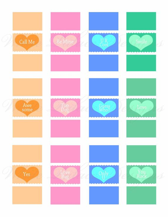 """DIY printable """"conversation hearts"""" mini candy bar wrappers for ..."""
