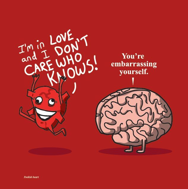 Do you follow your head or your heart? Great cartoon by Nick Seluk via http://theawkwardyeti.com/ Studying Psychology? GO HERE --> www.all-about-psychology.com #psychology