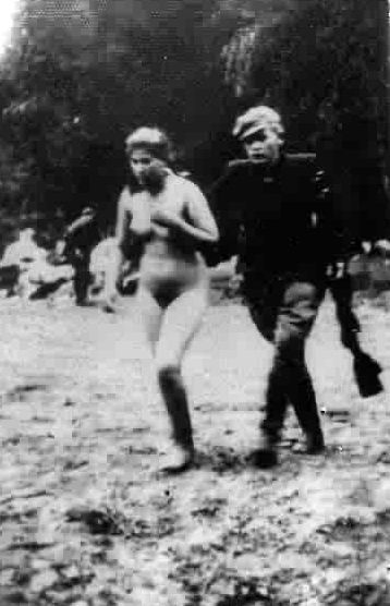 Naked girls walk down street