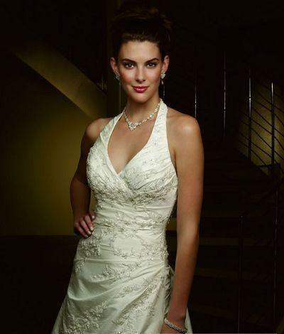 Halter Wedding Dresses Chapel Train A Line