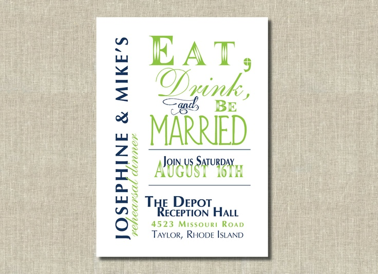 Printable Fun Rehearsal Dinner Invitation, BBQ Invitation - eat drink be married - Teal ...