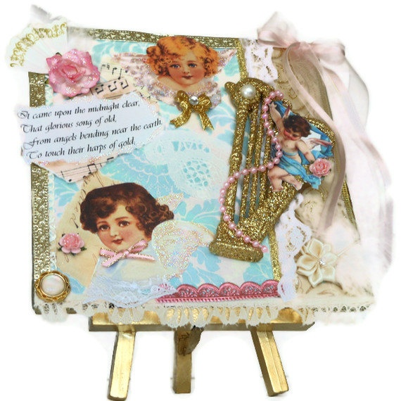 Shabby Chic Christmas Collage Mixed Media Altered by BlissfulBoxes, $ ...