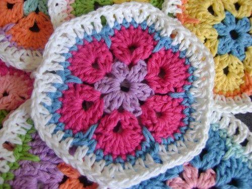 African Flower Granny Hex - free pattern Crochet - Baby ...