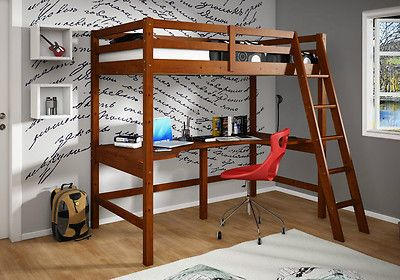 ... Loft with Full Shelf Desk - Espresso Finish - Bunk bed - Twin Loft Bed
