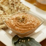 roasted red pepper and walnut spread - garnish with toasted pine nuts ...
