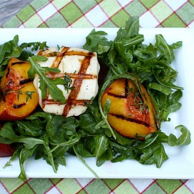 arugula, grilled peach & halloumi salad - get in my belly.
