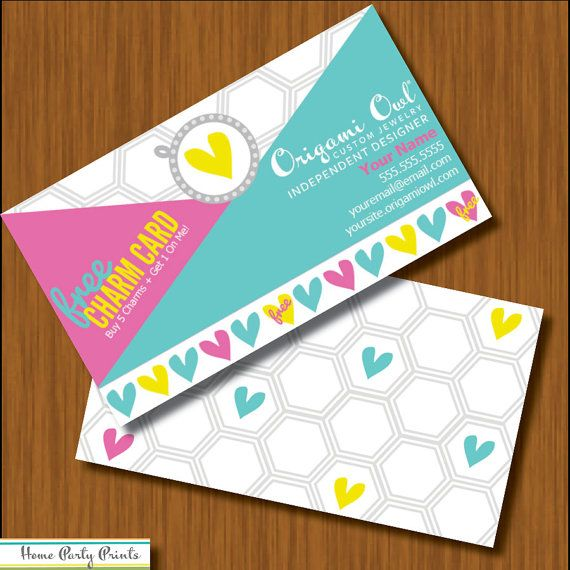 Origami owl free charm card customer incentive business for Owl business cards