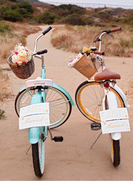 His and her just married vintage wedding bikes!...sarah layne photography, san diego This would be really cute to have outside of the reception and to take some photos with!