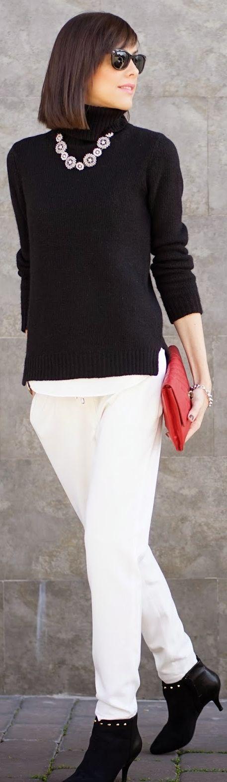 boyfriend pants or wide leg trousers + turtleneck