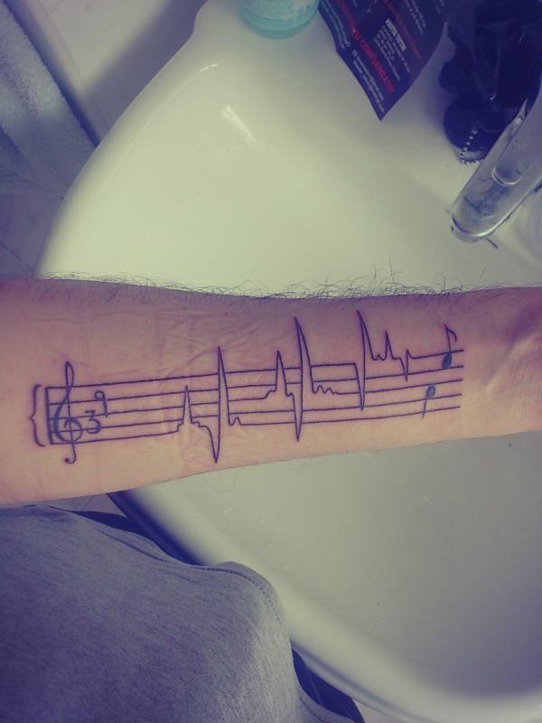 Music, ecg tattoo.