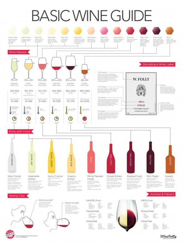 The Basic Wine Guide to Wine Glasses, Wine with Food, and Tasting Tips for each type - LOVE this chart so fun
