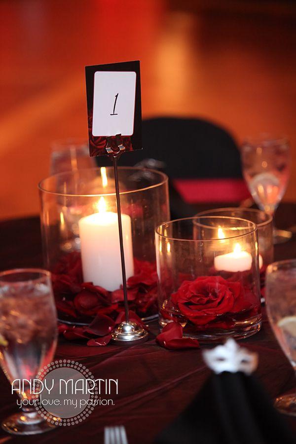 Black And Red Rose Centerpieces