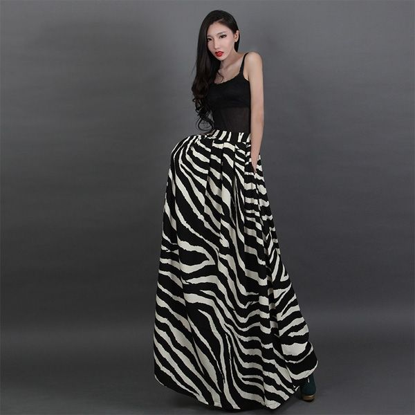 high waisted ruffles zebra pattern maxi a line skirts