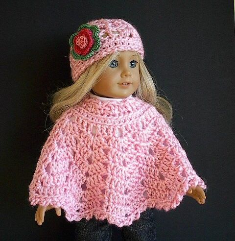 American Girl Doll Clothes: Crocheted Pink Poncho Set with ...