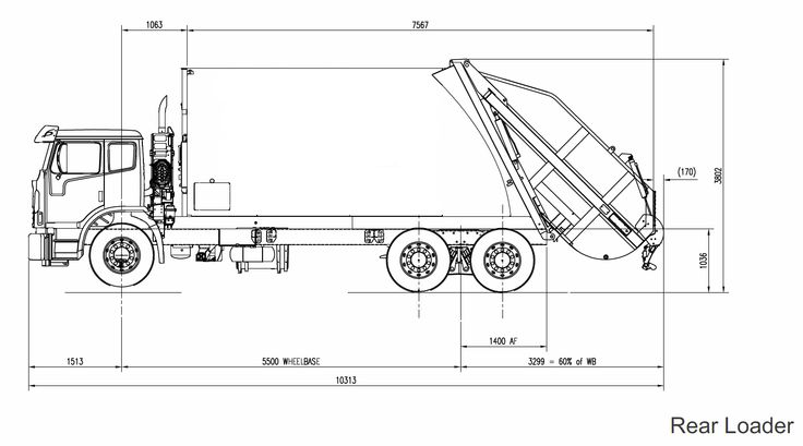 Line Drawing Truck : Line drawing of rear loader garbage truck