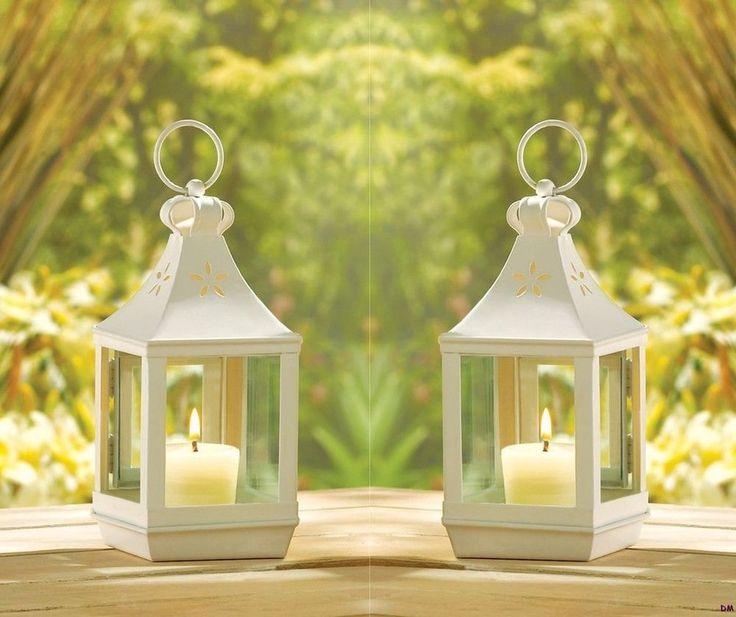 Set of small white garden candle lanterns wedding table