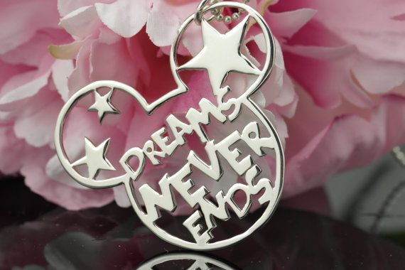 Mickey Mouse DREAMS NEVER ENDS pendant - sterling silver 925 necklace ...