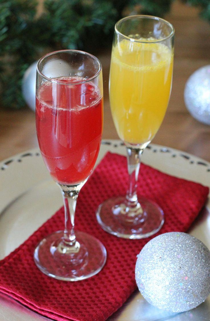 Orange-Ginger and Orange-Pomegranate Mimosas