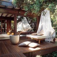 Terraza con deck de madera